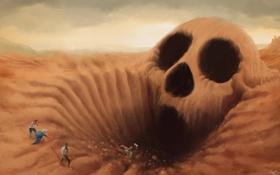 Обои песок, арт, череп, люди