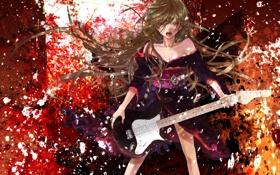 Картинка кимоно, Девушка, пояс, гитара, длинные волосы