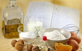 Картинка масло, апельсин, яйца, тарелка, тетрадь, грецкие орехи, рецепт