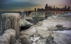 Обои лед, зима, город, Чикаго, США, Chicago, illinois