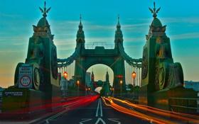 Обои трассы, Лондон, Англия, ночь, Hammersmith Bridge, огни