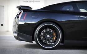 Обои чёрный, Nissan, GT-R, black, ниссан, задняя часть, 360 three sixty forged