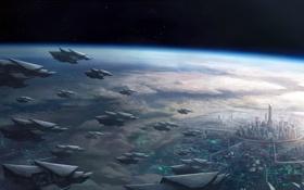 Обои город, планета, корабли, атмосфера, арт, Phoenix War