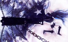 Картинка девушка, оружие, аниме, арт, цепи, black rock shooter, стрелок с черной скалы