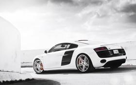 Картинка белый, небо, Audi, ауди, парковка, white, блик