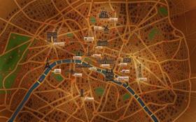 Обои город, река, Франция, Париж, дороги, карта, сердца