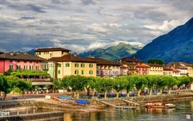 Картинка небо, облака, горы, дома, лодки, Швейцария, Аскона