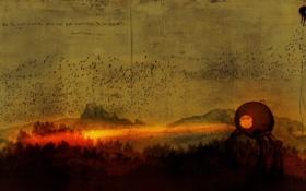 Картинка лес, пейзаж, птицы, огонь, надпись, рисунок, клякса