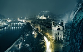 Картинка мост, огни, река, улица, дома, вечер
