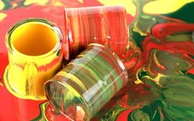 Обои цвета, красный, жёлтый, яркие, краска, баночки, зелёный