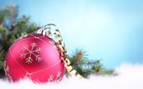Обои розовый, серпантин, Голубой фон, шар, снежинка, елка, макро