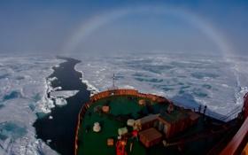 Картинка лед, радуга, канал, ледокол