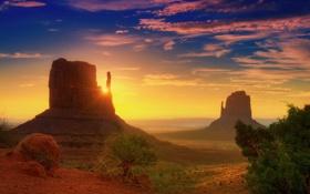 Обои облака, лучи, рассвет, пустыня, юта, долина монументов