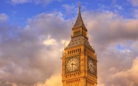 Обои небо, облака, город, часы, башня, лондон