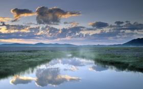 Обои пейзаж, горизонт, небо, облака, водоём, обои, природа