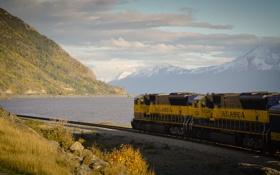 Картинка природа, рельсы, поезд, железная дорога, локомотив