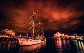 Картинка ночь, парусник, бухта, причал, Австралия, Сидней, Australia