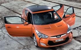 Обои машина, двери, Hyundai, ракурс, Veloster