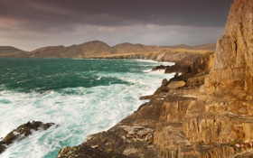 Картинка море, небо, горы, тучи, шторм, скалы