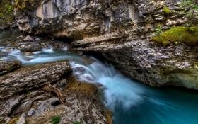 Картинка лес, природа, река, камни, скалы, поток воды