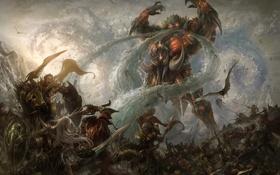 Обои вода, горы, птица, магия, демон, Армия, гигант
