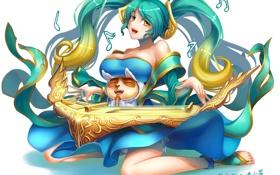 Обои грудь, девушка, улыбка, игра, арфа, белый фон, инструмент