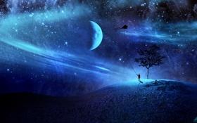 Картинка звезды, луна, воздушный змей, галактика
