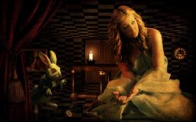 Обои часы, кролик, Алиса в стране чудес