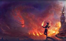 Обои огонь, дым, башня, Девушка, монстр, когти, шестерни