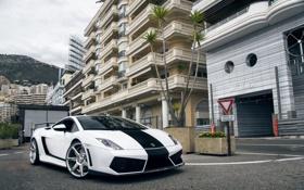 Обои Lamborghini, white, gallardo, road, sky, hotel