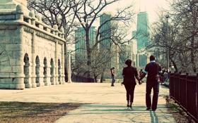 Картинка осень, пара, город, люди, Иллиноис, парк, небоскребы
