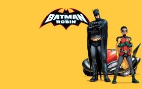 Обои batman, персонажи, бэтмобиль, комикс, супер герои, dc comics, робин