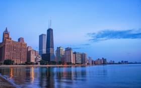 Картинка город, вечер, Чикаго, Иллиноис, озеро Миччиган
