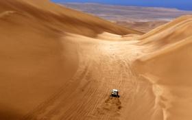 Обои гонка, Песок, Авто, Желтый, Спорт, Пустыня, Машина