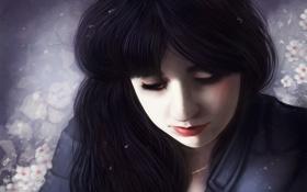 Картинка девушка, снег, цветы, лицо, фон, волосы, арт