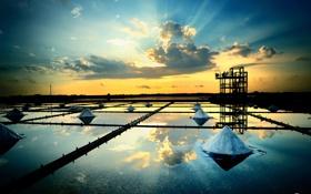 Обои вода, облака, закат, люди, вечер, вышка, пирамиды