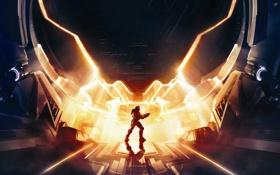 Картинка свет, оружие, портал, солдат, Halo, броня, Master Chief
