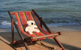 Обои море, настроение, отдых, игрушка, мишка, шезлонг, Тайланд