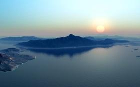Обои небо, пейзаж, закат, Природа, залив