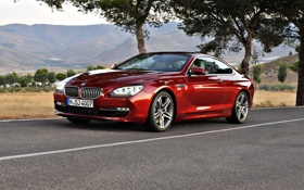 Обои дорога, car, машина, деревья, road, trees, bmw 6 series coupe