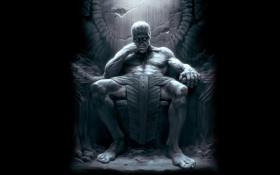 Обои великан, черный фон, сидит, трон, Thor, Тор, Йотунхейм