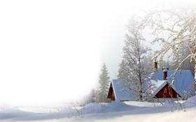 Обои зима, снег, пейзаж, природа, фото, дома
