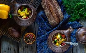 Обои укроп, хлеб, перец, натюрморт, овощи, специи, горшочки