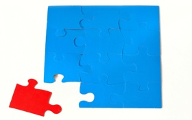 Обои blue, doubt, puzzle, pieces, red