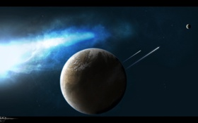 Картинка планеты, спутник, свечение, звездолеты