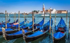 Обои лодка, Италия, церковь, Венеция, канал, гондола, Сан-Джорджо Маджоре