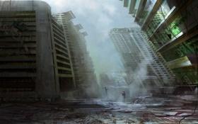 Картинка город, апокалипсис, человек, дома, разрушение