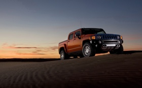 Картинка закат, пустыня, горизонт, Hummer