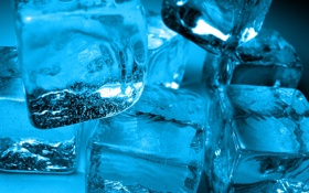Обои холод, лед, вода, кубики