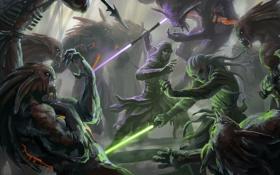 Обои меч, Star Wars, арт, монстры, битва, The Old Republic, Jedi